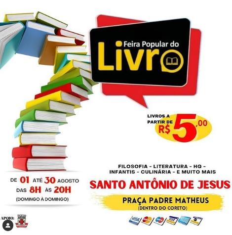 Feira Popular do Livro acontece de 01 a 30 de agosto em SAJ